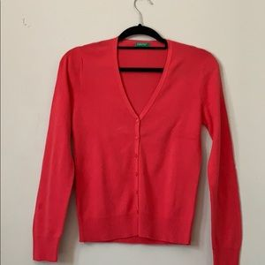 United Colors of Benetton pink V-neck cardigan